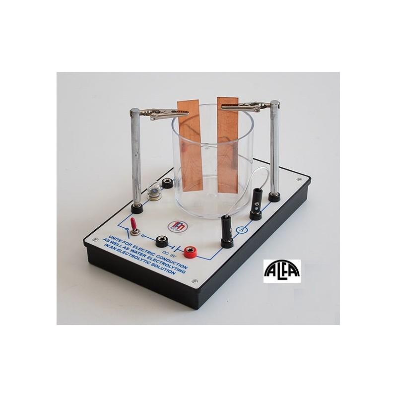 Elektrolizer - przyrząd do elektrolizy z żarówką i przełącznikiem